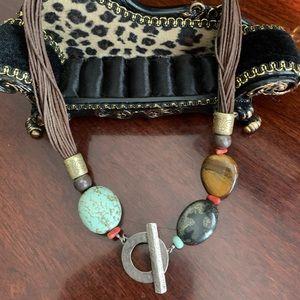 Vintage Silpada silver toggle necklace.
